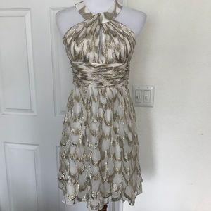 Aidan Mattox Metallic Silk Blend Cocktail Dress